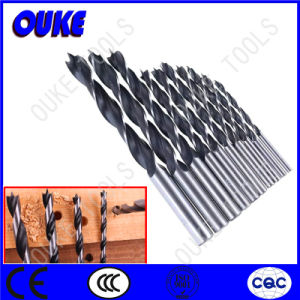 Rolled Black & White Brad Point Wood Drill Bits