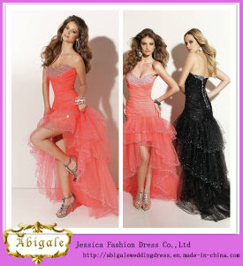 Sexy Charming Tulle Hi-Lo Sequins Beaded Sweetheart Sleeveless Ruffles Long Tail Cocktail Dress Yj0089