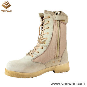 Side Zipper Suede Cow Leather Military Desert Boots with Athletic Cement (WDB011) pictures & photos
