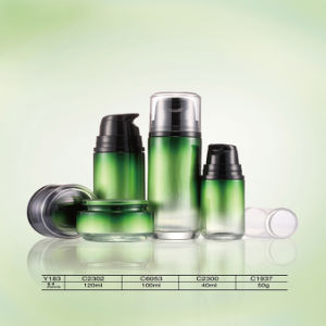 Volume Plastic&Glass&Acrylic Cosmetic Bottle & Cream Jar with Shining for Skin Care Silver Lid