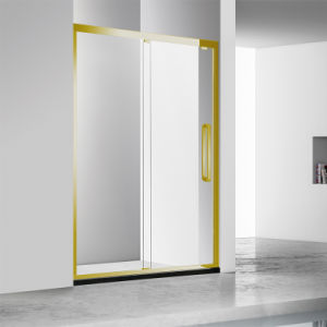 Stainless Steel Tempered Glass Two Sliding Shower Enclosure with Gold Color