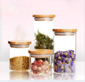 Borosilicate Glass Food Storage Jar with Wooden Lid or Cork