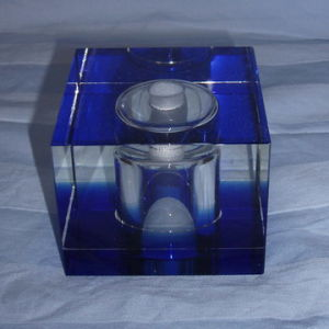 Blue Crystal Glass Cube
