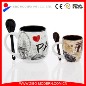 Special Shape Ceramic Mug with Spoon in Handle pictures & photos
