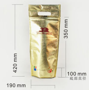 Golden Film Laminating Non-Woven Wine Handle Bag pictures & photos