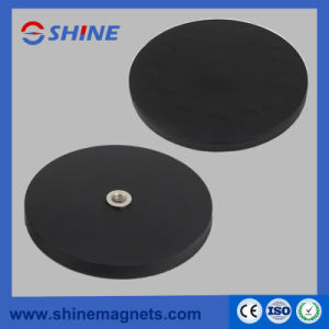 D34mm Permanent NdFeB Rubber Covered Pot Magnet with M4 Threaded Hole pictures & photos