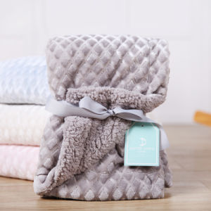 2 Layer Embossed Soft Plush Flannel Fleece Cover Blanket for Knee or Bed