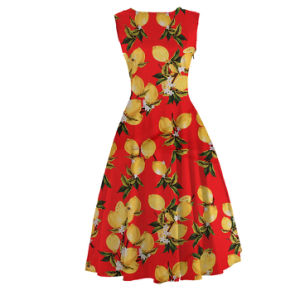 Floral Print Frida Lemon Sleeveless Casual Fancy Dresses for Girls pictures & photos