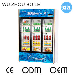 932L Vertical Below Unit Three Sliding Door Showcase with Fan Cooling Circulation