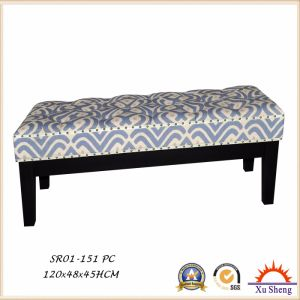 Bedroom Furniture Script Linen Button Tufted Long Bench with Solid Wood Legs