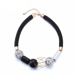 Fashion Jewelry Black Rope Wooden Beads Choker Necklace Ethnic Square Alloy Chain Vintage Necklaces for Women Collares