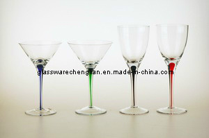 Martini Glass with Colorful Tear Stem (D05S-027) pictures & photos