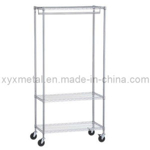 Chromed Steel Rolling Metal Garment Rack Wire Shelf pictures & photos