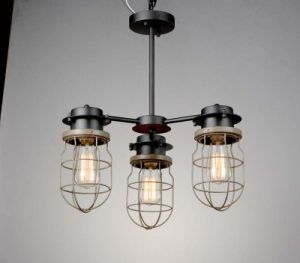 Retro Style of Pendant Lamp 3 Bulbs in Black