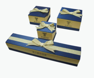 High Quality Blue & Yellow Colour Paper Jewelry Box (YY-J0053) pictures & photos