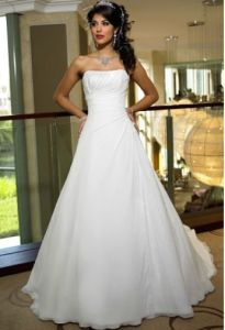 Chiffon Strapless Wedding Dress (Ogt018kn)