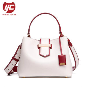 4dbe027e3b Yc-H258 Contrast Color Fashion Ladies Genuine Leather Bucket Bag