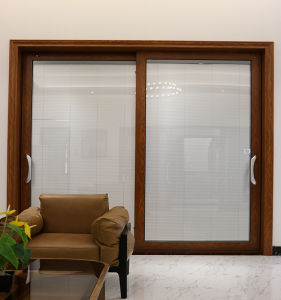 Aluminum Alloy Double Leaf Gl Door With Tempered Office Blinds
