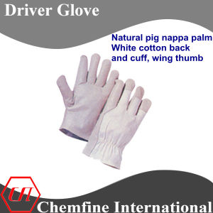 Natural Pig Nappa Palm, White Cotton Back and Cuff, Wing Thumb Leather Driver Glove pictures & photos