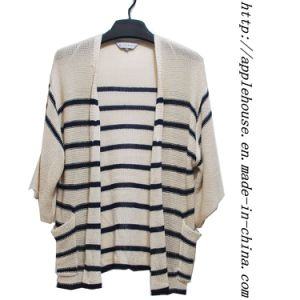 3/4 Length Sleeve Stripe Long Length Cardigan Sweater (8504wknit)