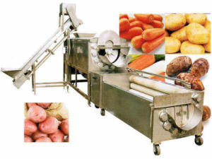 Automatic Brush Style Root Vegetable Potato Washing Machine for Wash and Peeling Potato pictures & photos
