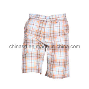 2014 High Quality Cotton Men Shorts with Check Print (PS1202)