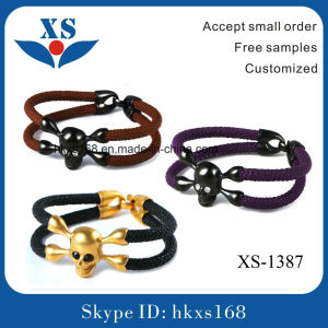 Fashion Leather Handmade Jewelry with Skull Bead