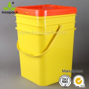 20 Liter Yellow Square Plastic Pail with Blue Cover and Handles for Chemical pictures & photos