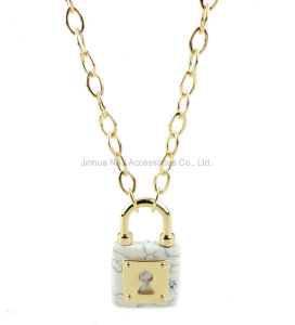 Fashion Natural Stone Pendant Gold Necklace for Women Jewelry
