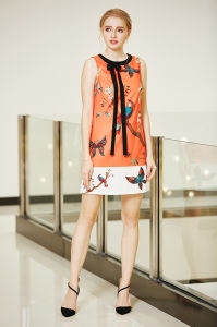 Sleeveless Border Print Shift Dress with Neck Tie