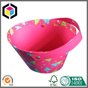 Bucket Style Rigid Cardboard Gift Paper Box with Handle