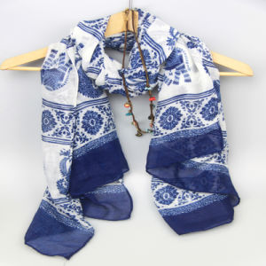 fe2995168 98*180cm Blue Bandanna Printing Flower Scarf for Ladies Fashion Accessory