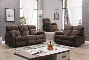 Living Room Furniture Cheap Price Suede Fabric Motion Recliner Sofa Sets pictures & photos