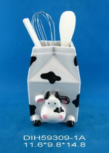 Ceramic Cow Utensil Holder for Home/Kitchen Decoration