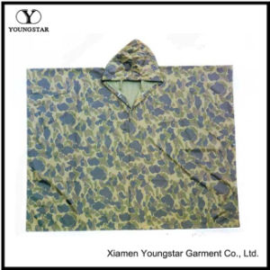 Minitary Camouflage Printed Polyester Poncho with PVC Coating pictures & photos