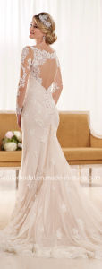 Dots Tulle Bridal Gown Long Sleeves Lace Sheath Wedding Dress D1950 pictures & photos