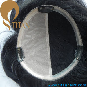 Hairpiece with Mono Base and PU Around for Man