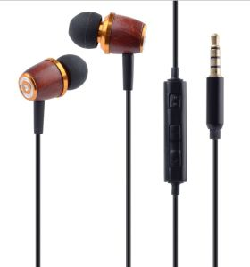 High Quality Ebony Material Earphone with Mic (RH-I84-002)