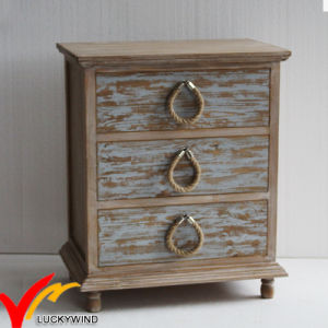 French Style Rustic Stained 3 Drawer Bedside Cabinets With Rope S