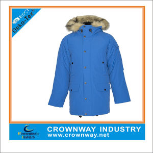 Mens Hooded Winter Blue Parka Jacket with Fur pictures & photos