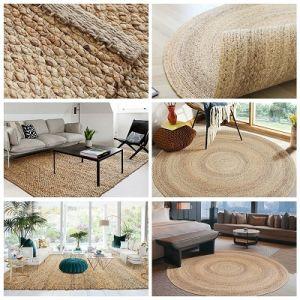 Hand Woven Natural Water Hyacinth Carpet Area Rug Hotel Resort Home Decorative Fiber Floor Mat
