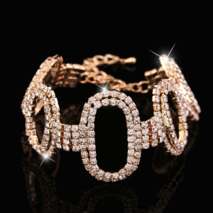 Fashion Gold Jewelry Stainless Steel Crystal Bracelet