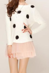 Pullover Long Sleeve Sweater and Lace Design Woolen Dresses (XYD-106)