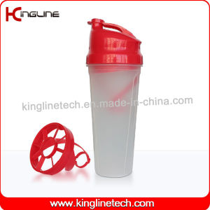 BPA Free 700ml Plastic Protein Shaker Bottle with Plastic Blender (KL-7009) pictures & photos