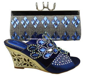 Fashion Lady Shoes and Bag Csb1050 Blue