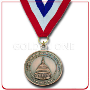 Custom Die Casting Antique Brass Congressional Medal Award with Ribbon pictures & photos