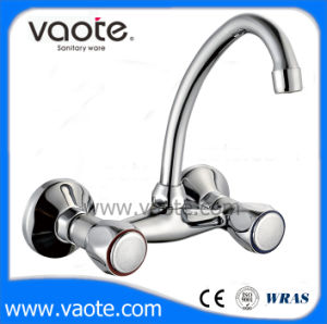 Double Handle Brass Body Sink Wall Mixer Faucet (VT61302) pictures & photos