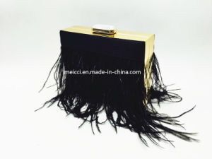 New Design Silk with Feather Clutch Bag, Ladies Bag pictures & photos