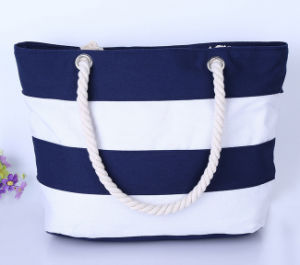 Handled Style and Canvas Material Large Striped Canvas Tote Bag Beach Bag