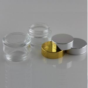 30g 50g Empty Round Clear Cosmetic Glass Jars with Black Cap / 1 Ounce Clear Glass pictures & photos